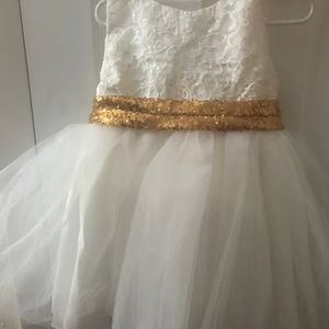 Other - White with Gold Bow Dress